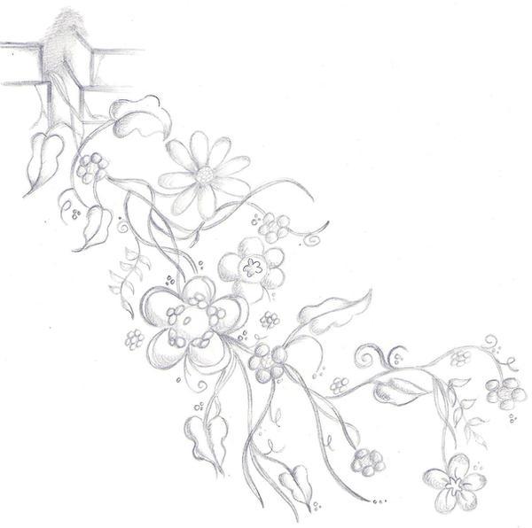 Flower Vine Tattoo Design b+w - flower tattoo