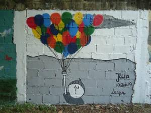 Flying like a Balloon graffiti