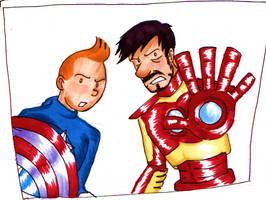 Captain Tintin and Iron Haddock by LeenaKill