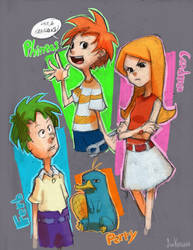 Phineas and Ferb sketches by SueKeruna