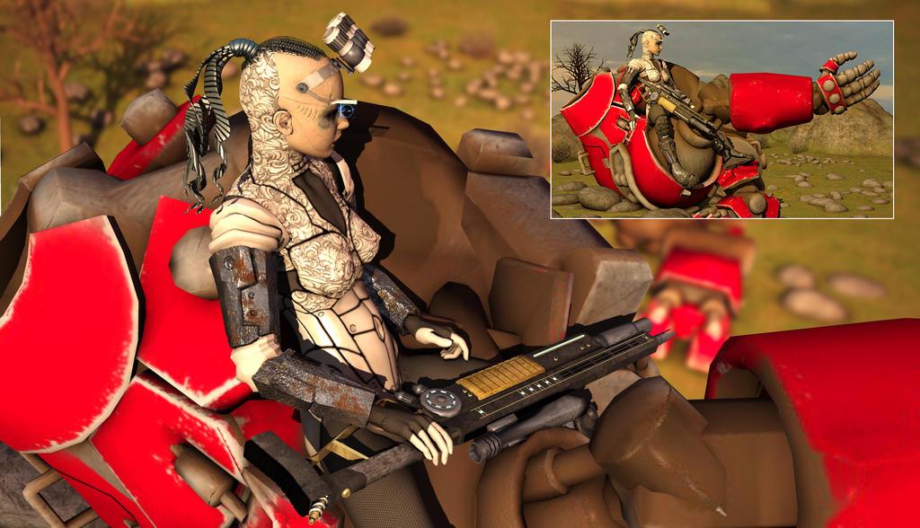 Cyborg Reclining on a Mech by Mr12Fingers