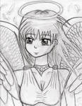 manga angel bw