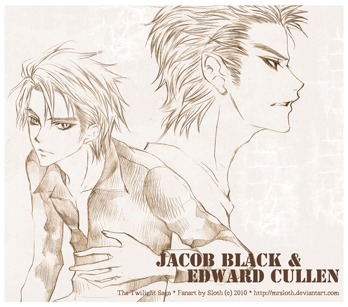 Twilight : Jacob and Edward II by mrsloth
