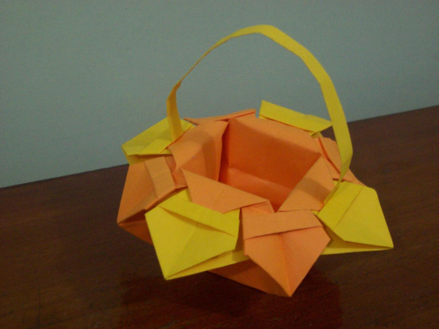 origami flower basket by craftlover on deviantart