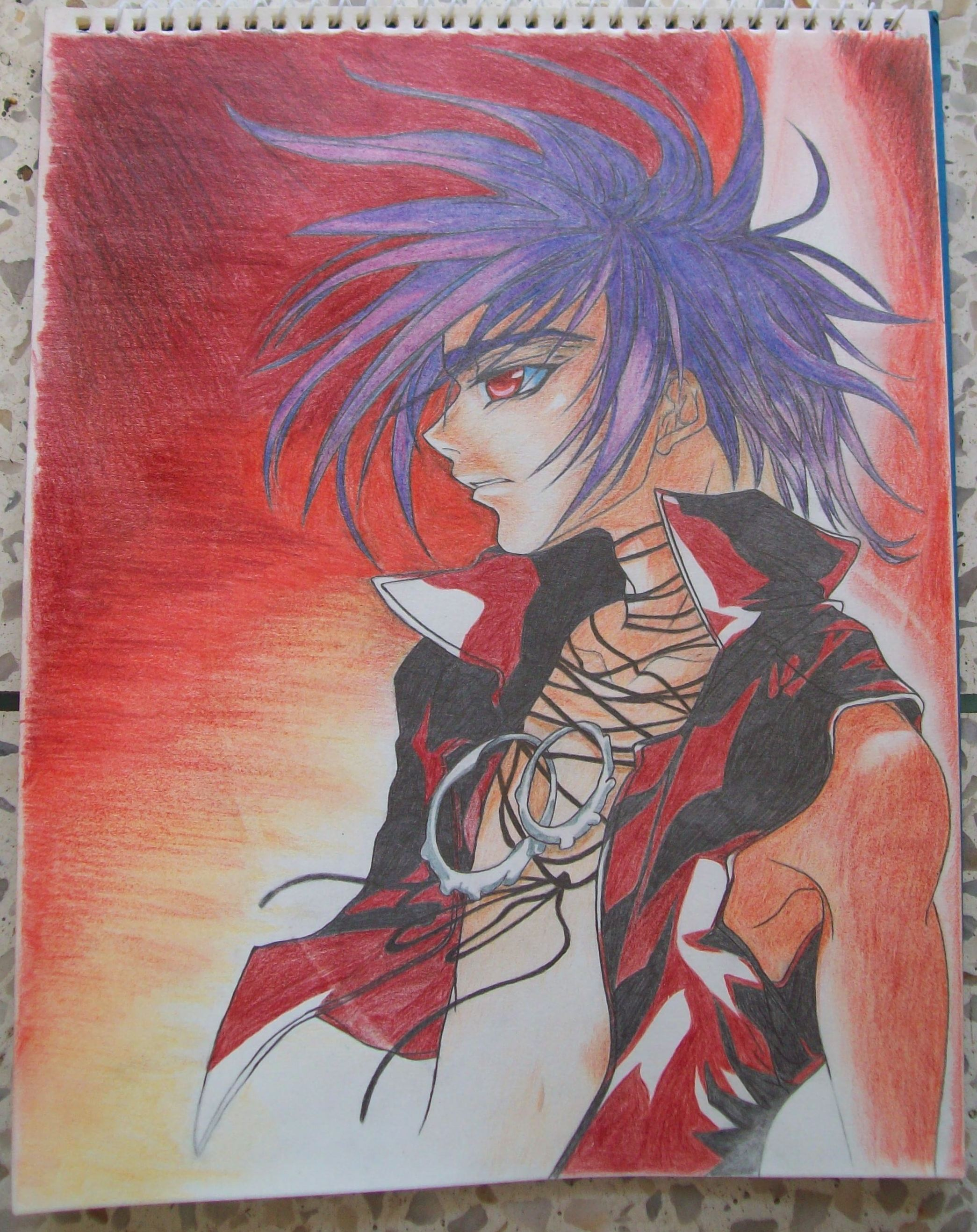Colored pencil anime drawing by craft lover