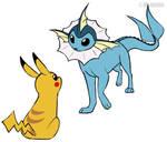 Vaporeon and Pikachu