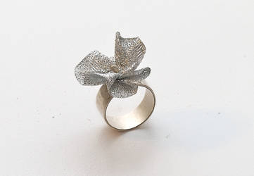 Silver ring with metalic fabri by yaelkaufman