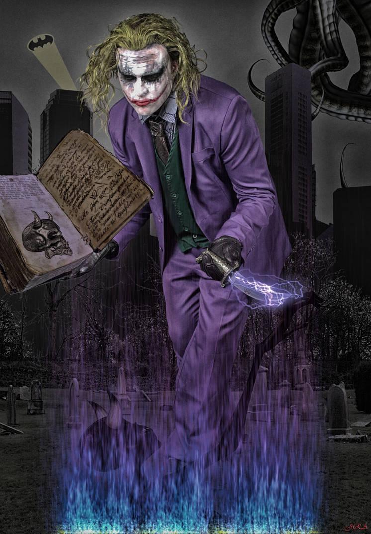 Batman versus Joker with the Necronomicon