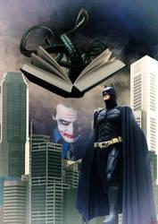 Batman versus Joker con el Necronomicon by EscribaRegio