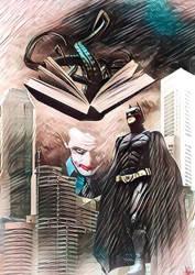 Batman Versus Joker  con el Necronomicon comic by EscribaRegio