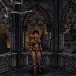 Diana la acrobata en castillo embrujado