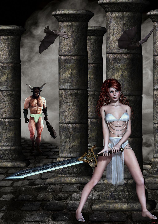 Lucha a muerte en el laberinto del minotauro