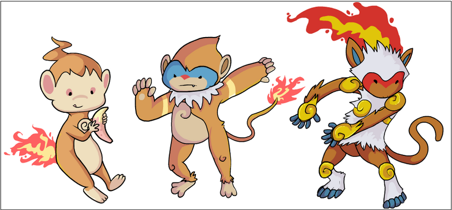 Chimchar, Monferno, Infernape by HappyCrumble on DeviantArt