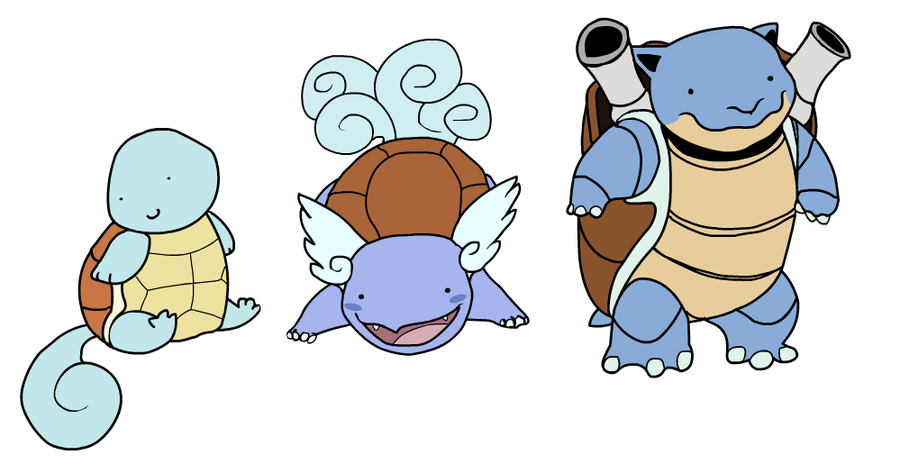 Squirtle, Wartortle, Blastoise by HappyCrumble on DeviantArt
