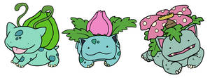 Bulbasaur, Ivysaur, Venusaur by HappyCrumble