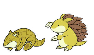 Sandshrew and Sandslash by HappyCrumble