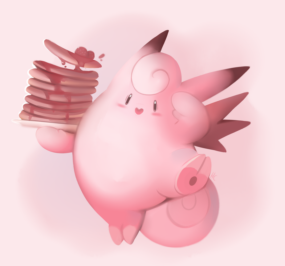 Clefable With Pancakes by HappyCrumble