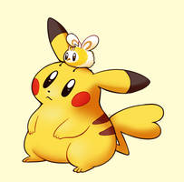 (Ko-fi) Pikachu and Cutiefly by HappyCrumble