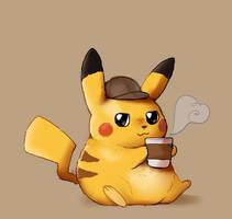 (Ko-fi) Detective Pikachu with Coffee