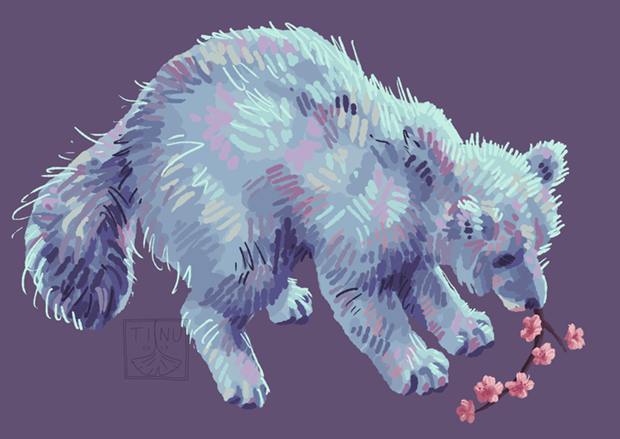 arctic fox + blossom by tinulir