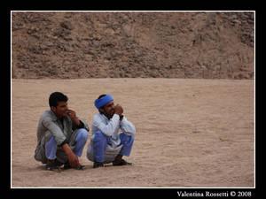 Beduins in the desert