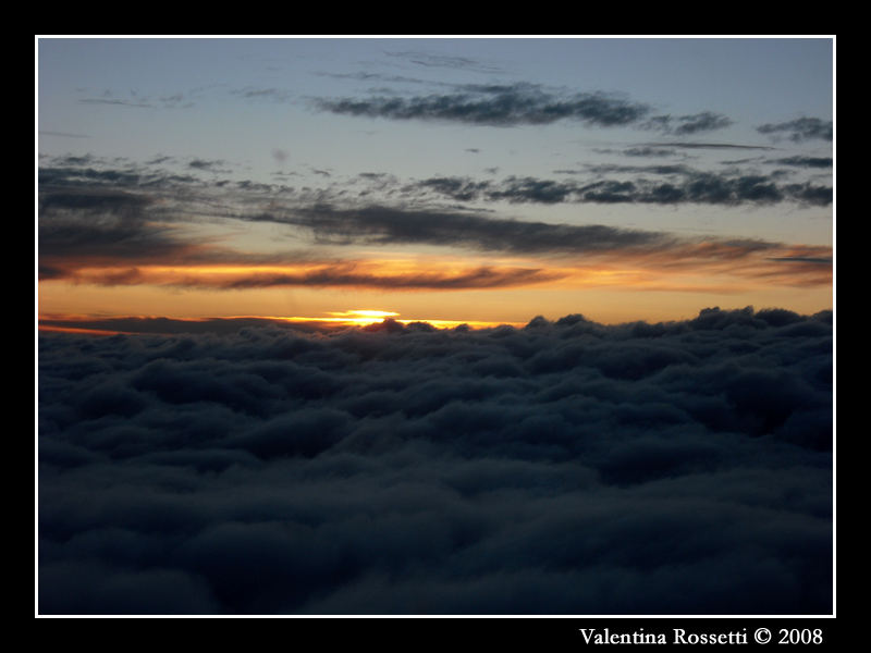 Sunset through clouds
