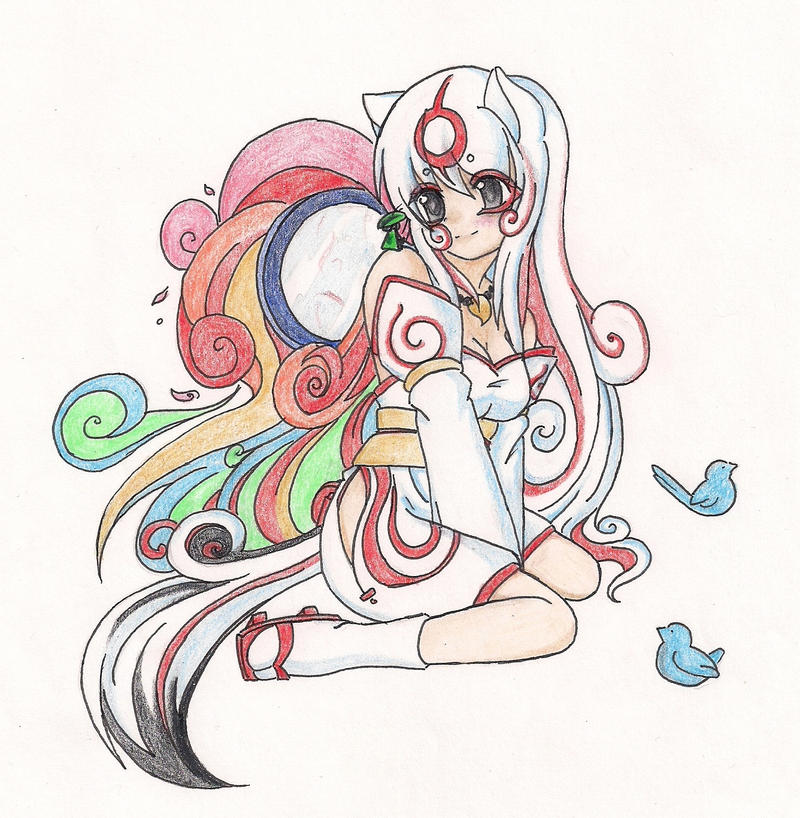 Old Art Colored - Okami Amaterasu by Mira-Lamai