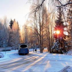 Winter wonderland on the bus stop