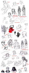 OCs: miscellaneous sketchdump by simply-irenic