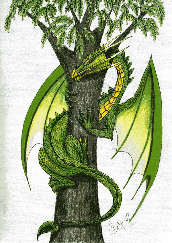 Рисунок дракона на дереве