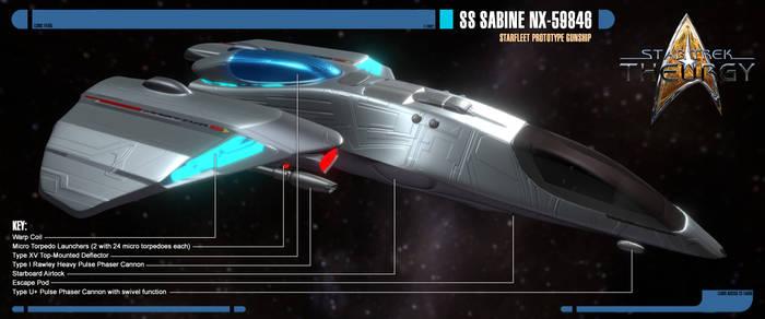 SS Sabine NX-59846   Prototype Gunship   Sideview