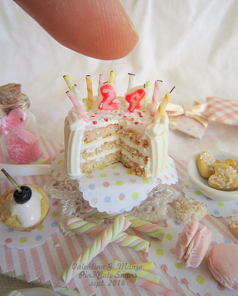 Miniature food 1/12 scale : Happy BDay to me ! by Valentina-PinkCute