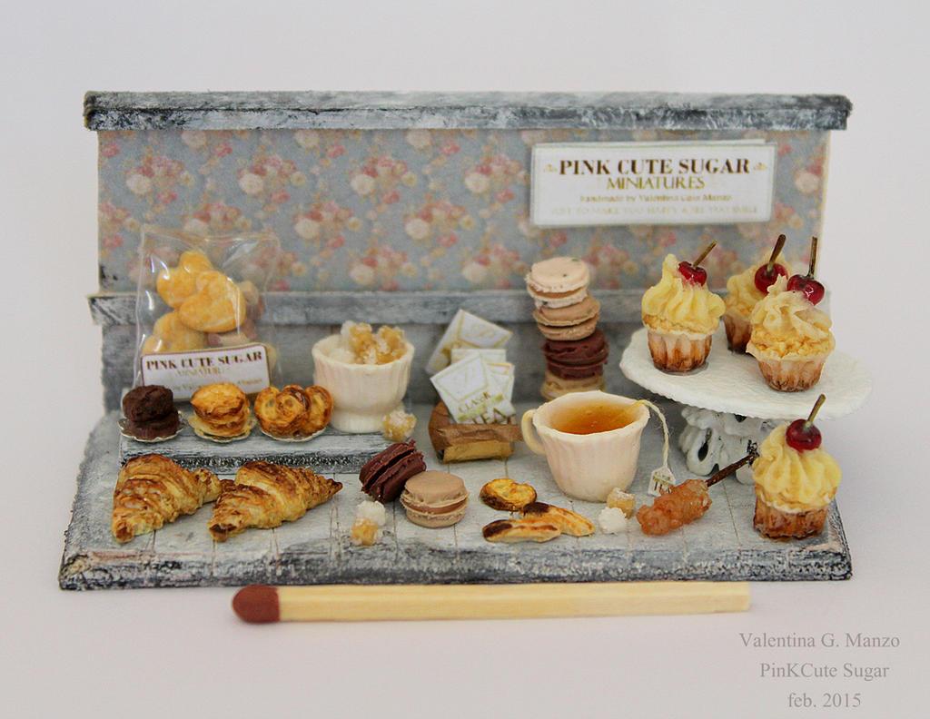 Miniature food 1/12 scale : Romantic tea time by Valentina-PinkCute