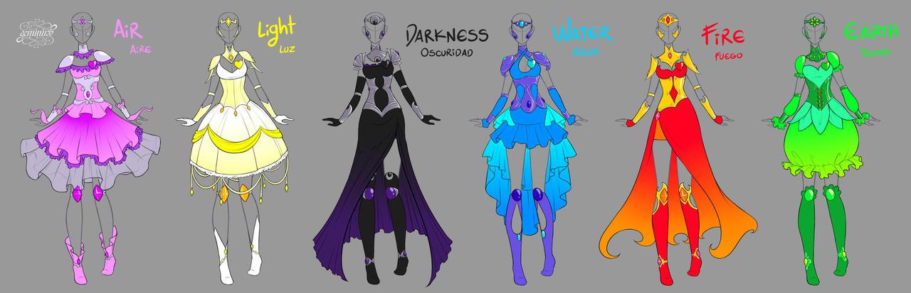Elemental Magical Girl Armors By Geminine nyan On DeviantArt