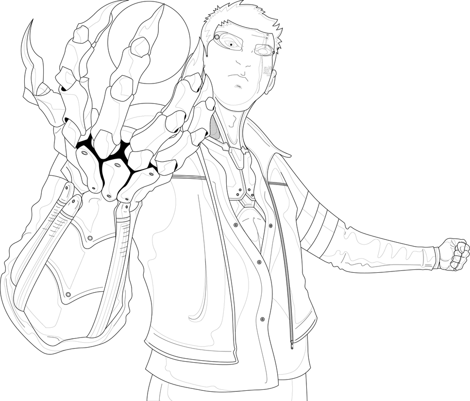 Line Art Characters : Cyberpunk character line art nuances by houdjain on