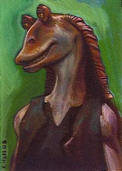 Jar Jar painted card by charles-hall