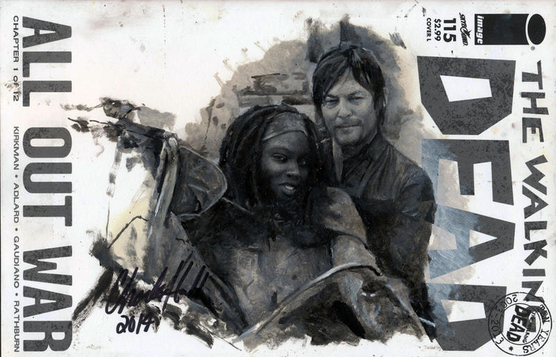 walking dead comic book sketch cover by charles-hall
