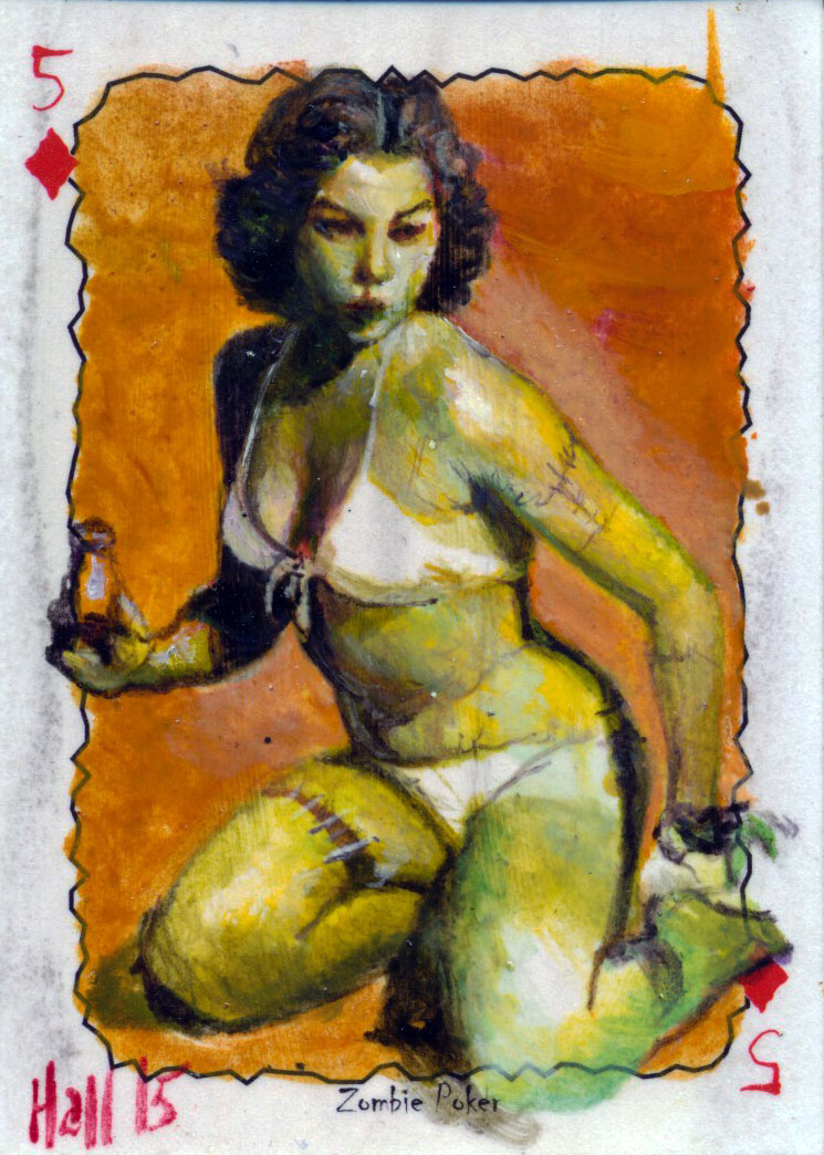 zombie poker sketch card 1 by charles-hall