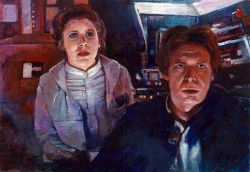 han and leia star wars illustrated sketch card