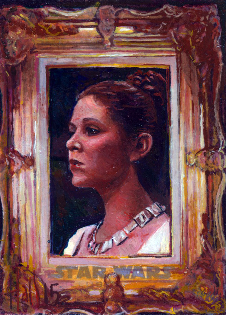 leia star wars illustrated sketch card by charles-hall