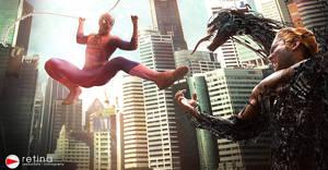 Spiderman vs Venom by Lilaeroplane