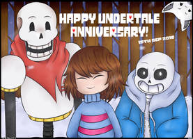 Happy 1st Undertale Anniversary! by BlizzySnowolf