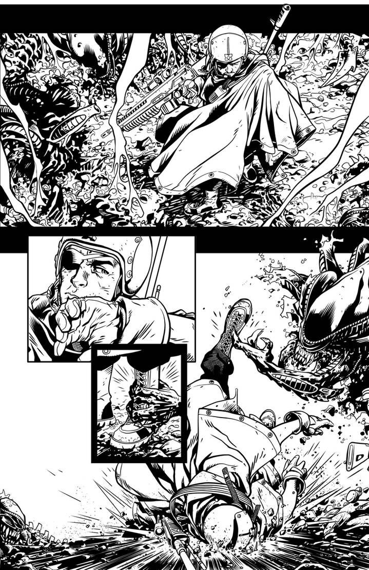 Aliens 1 pg4 INKS by JeremiahLambertArt