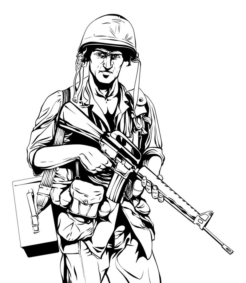 vietnam coloring pages vietnam war soldier inks by jeremiahlambertart on deviantart
