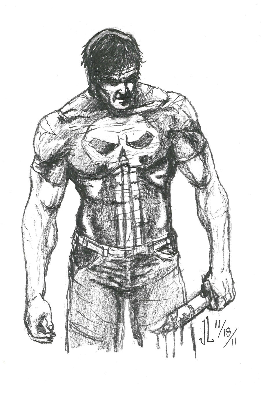 Punisher - NOV '11 Sketch a Day 18 by JeremiahLambertArt