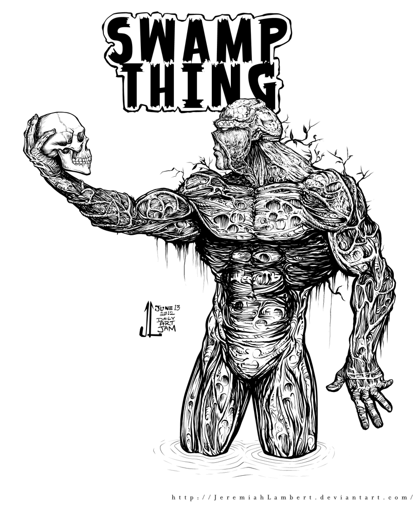 swamp monster coloring pages | Swamp Thing -June '12 Daily Art Jam- Day 13 by ...