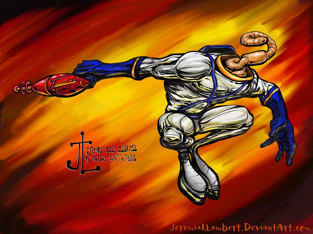 Earthworm Jim -June '12 Daily Art Jam- Day 25 by JeremiahLambertArt