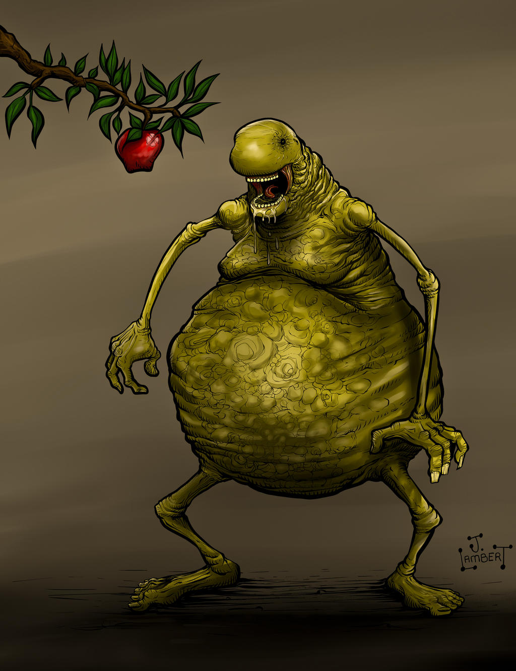 Monster Apple 2 COLORS by JeremiahLambertArt