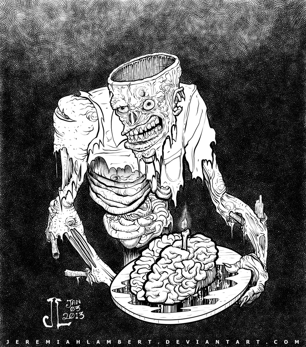 Birthday Cake for a Zombie - JAN 2013 16 Art Jam by JeremiahLambertArt