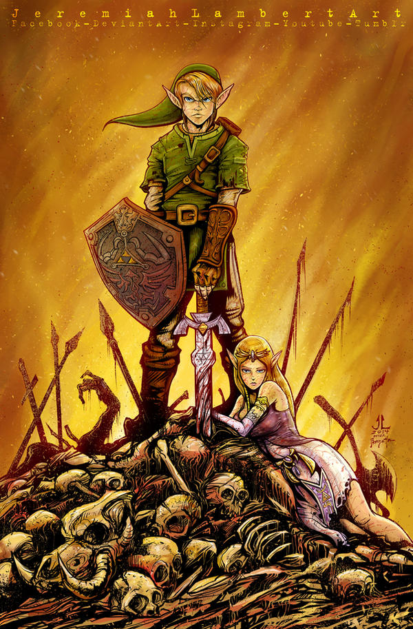 Link and Zelda. Frazetta Conan homage. by JeremiahLambertArt